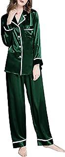 Conjunto de Pijama Seda Satén Pijama Suit con Solapa para Mujer Autumn Winter Warm Casual Home Pajamas One Size Fits Most Women