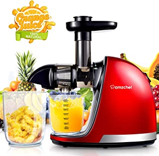 AMZCHEF Juicer, Slow Masticating Juicer Extractor Professional Machine with Quiet Motor/Reverse Function/Easy to Clean with Brush for Fruit & Vegetable Juice