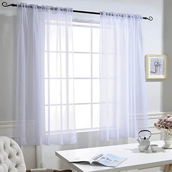 NICETOWN Small Window Sheer Curtains High Thread Crushed Sheer Voile Draperies Drapes With Rod Pocket Back Tab For Kitchen Set Of 2 52 Inches Wide X 45 Inches Long