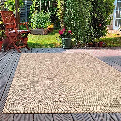 VIMODA In- und Outdoor Flachgewebe Terrassen & Balkon Teppich In Beige, Maße:120x160 cm