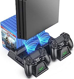 OIVO Soporte Vertical con Ventilador de Refrigeración para PS4/PS4 Pro/PS4 Slim, Estación de Carga del Controlador con Indicadores LED y Almacenamiento para 12 Juegos