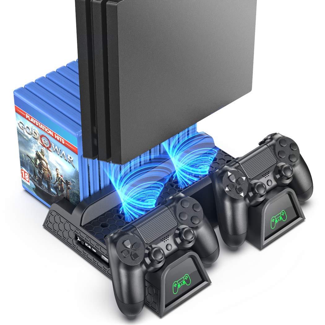 OIVO Soporte Vertical con Ventilador de Refrigeración para PS4/PS4 Pro/PS4 Slim, Estación de Carga del Controlador ...