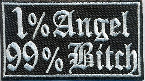 Hells Jacket 1% Angel 99% Bitch Chopper Heavy Metal Biker Rocker Aufnäher Patch Abzeichen
