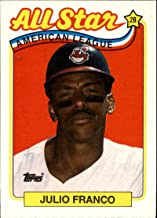 1989 Topps Baseball #398 Julio Franco Cleveland Indians AS Official MLB Trading Card (stock photo used, Sharp corners guaranteed)