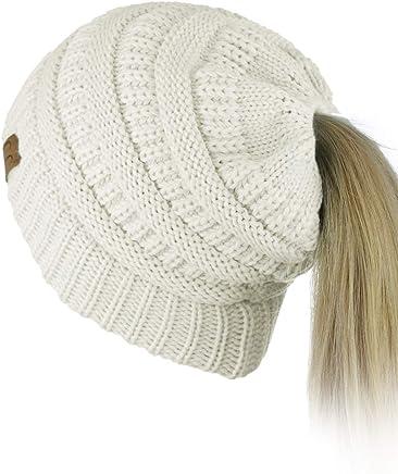 C.C BeanieTail Soft Stretch Cable Knit Messy High Bun Ponytail Beanie Hat 0b38997f9e0