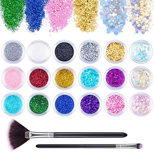 MELLIEX 18 Pezzi Glitter per Unghie, Paillettes per Nail Art Glitter, Polvere Cosmetici DIY Decalcomanie Decorazione per Viso Corpo Occhi con Pennelli