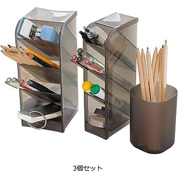 ペン立て ペンスタンド 卓上小物入れ 文房具収納 事務用品収納 斜め入れと筒型 鉛筆 立て 卓上収納 デスク整理整頓におすすめ 半透明 3個セット