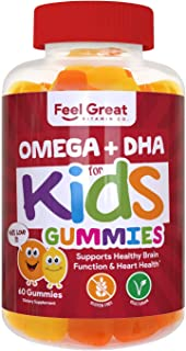 Feel Great Vitamin Co. Complete DHA Gummies for Kids | with Omega 3 6 9 + DHA, Vitamin C | Supports Healthy Brain Functio...