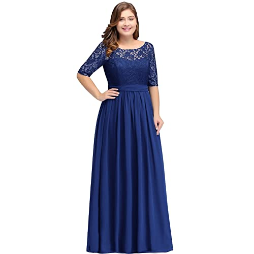 d375f46353 Women Plus Size Chiffon Evening Dresses Long Prom Bridesmaid Gown