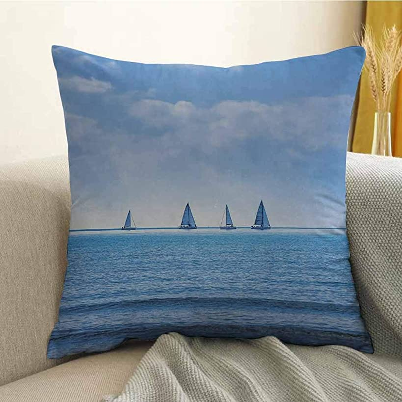 FreeKite Silky Pillowcase Super Soft and Luxurious Pillowcase Racing Yachts on Ocean Water Regatta Race Panoramic Distant View Relax Win Photo W20 x L20 Inch Light Blue