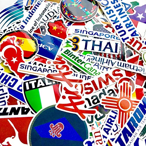 BLOUR Karte Airline Logo Reiseaufkleber für Koffer Laptop Notebook Gitarre Motorrad DIY wasserdichte Graffiti Aufkleber 100 Stück/Los