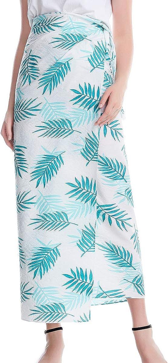 XINNI Women Casual One-Piece Tie Up Pattern Long Skirt Fashion Changable Wrap Dress