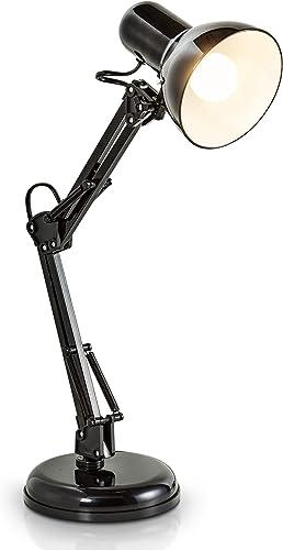 B.K.Licht - Lámpara de escritorio tipo arquitecto, flexo LED halógena, con brazo articulado giratorio, diseño vintage...