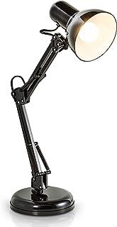 B.K.Licht lampe de bureau LED rétro, lampe de table LED, lampe de chevet métal avec articulation, lampe de lecture, éclair...