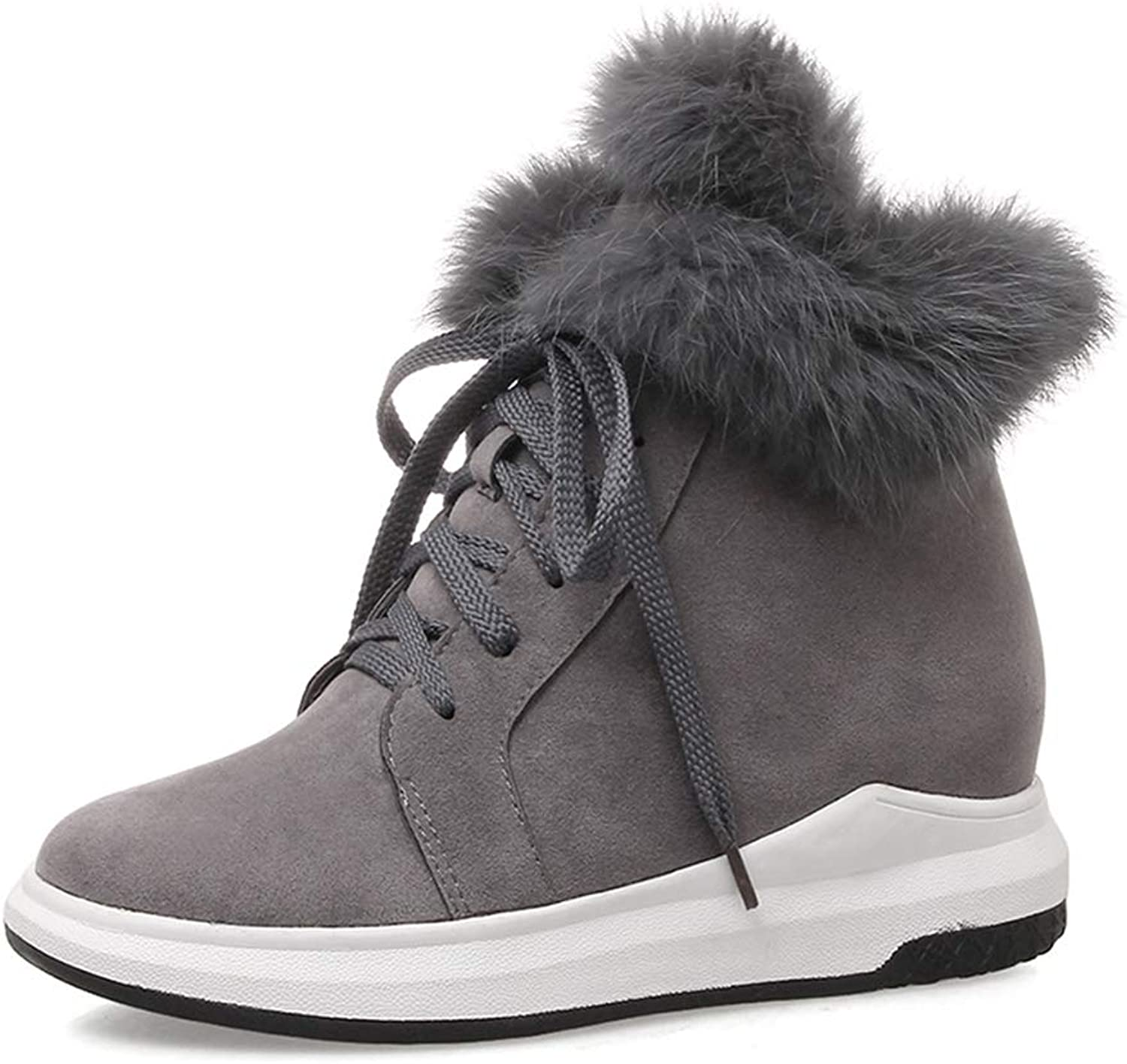 Hoxekle Height Increasing Ladies Snow Boots Black Fur Winter Boots Women Comfortable Warm shoes