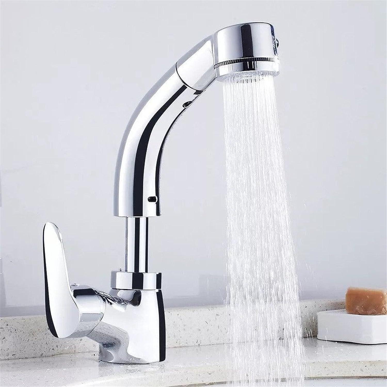 Bijjaladeva Wasserhahn Bad Wasserfall Mischbatterie Waschbecken Waschtisch Armatur für BadezimmerZiehen Sie die Zapfeinheit Ziehen zu Heben - die Kupfer Küche Wasserhahn