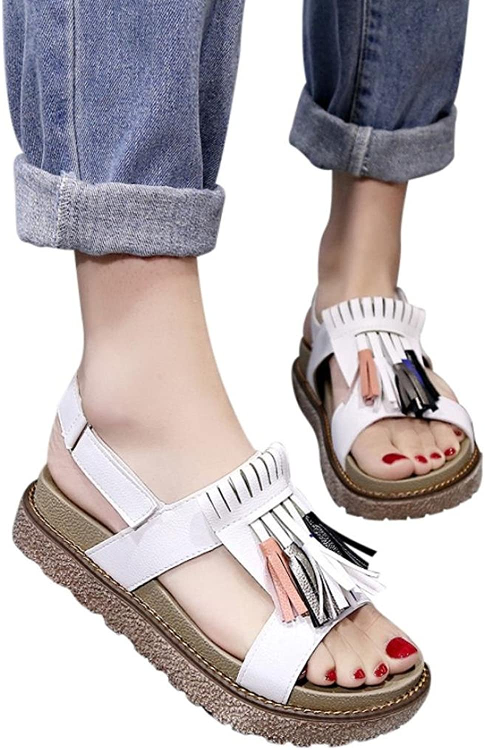 Fheaven Summer Women Sandals Low Platform Tassel shoes Casual Beach Comfortable Sandals