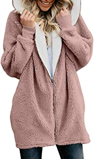 Winter Thicken Warm Faux Fur Coat Women Hooded Soft Fleece Zipper Cardigan Jackets,Pink,XXL