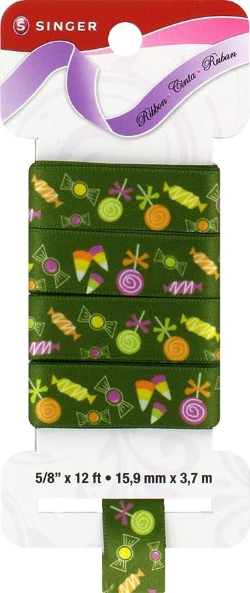 SINGER Satin Ribbon, 5/8-Inch by 12-Feet, Trick or Treat Print, Avocado Green