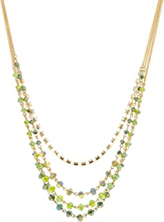c.A.K.e. by Ali Khan Gold-Tone Green Bead and Crystal Four Row Layered Necklace