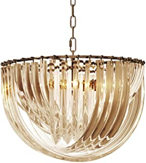 Lucite Loop Acrylic Drop Chandelier with Antique Brass Finish | Eichholtz Murano | Art Deco Luxury Hanging Lights | UL Listed Lighting