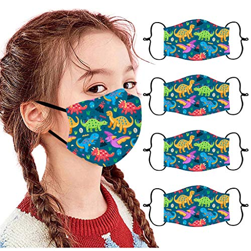 4 Stück Kinder Outdoor Baumwolle Mundmasken Staubdichte Gesichtsmasken Wiederverwendbar Mundschutz Multifunktionstuch 3D Cartoon Bedruckte Bandana für Jungen und Mädchen (B)