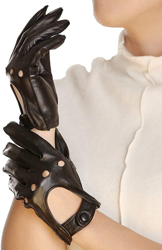 Warmen Classic Women Leather Gloves Motorcycle Driving Cycling Open Back