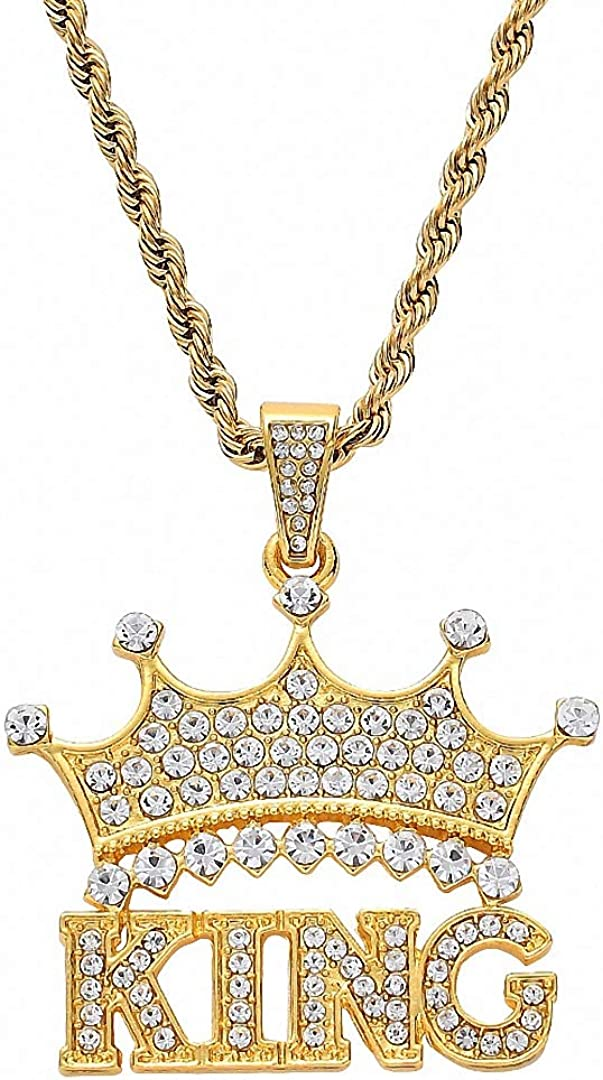 Kalapure Crown Initial Necklace for Couple Men Women Stainless Steel His Queen Her King Necklace 18K Gold Cubic Zirconia Iced Out Monogram Pendant Hip Hop Jewelry