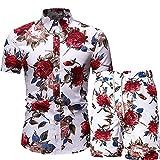 Camisa Hombre Conjunto Verano Casual Vacaciones Playa Camisa Y Pantalón Conjunto De 2 Piezas Camisa Hawaiana Hombre Viajes Al Aire Libre Surf Natación Manga Corta Hombre G-G26 L