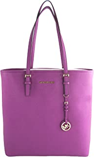 Michael Kors Jet Set Travel North South N/S Saffiano Leather Multifunction Tote Fuschia