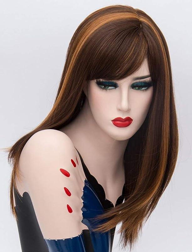 弱いスケルトンキャッシュ女性の女の子のためのかつらミディアムレングスブラウンストレートヘアカラーミックス合成