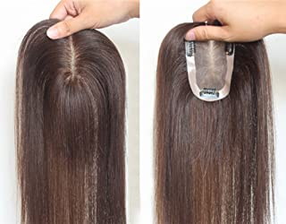 Remeehi Clip In Mono Hair Toppers Human Hair Top Bangs Extensions Hand Made Top Piece Closure Toupee 50Cm Dark Brown