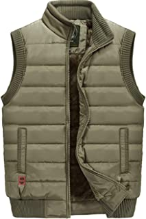 XinYangNi Men's Outdoor Stand Collar Fleece Jacket Vest Casual Padded Vest Coats Khaki US S/Asia L