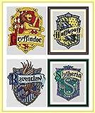 Kit de broderie au point de croix compté motifs blasons Harry Potter 17x 21cm avec fil de coton égyptien et toile Aïda 5,5points/cm