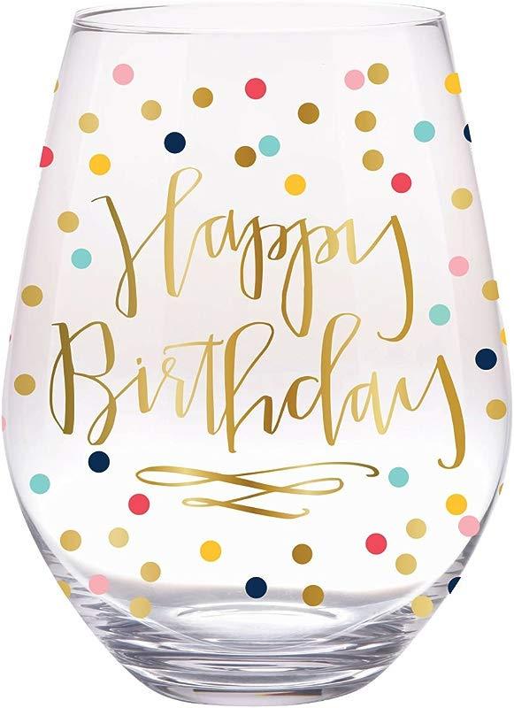 Slant Jumbo Stemless Wine Glass Happy Birthday