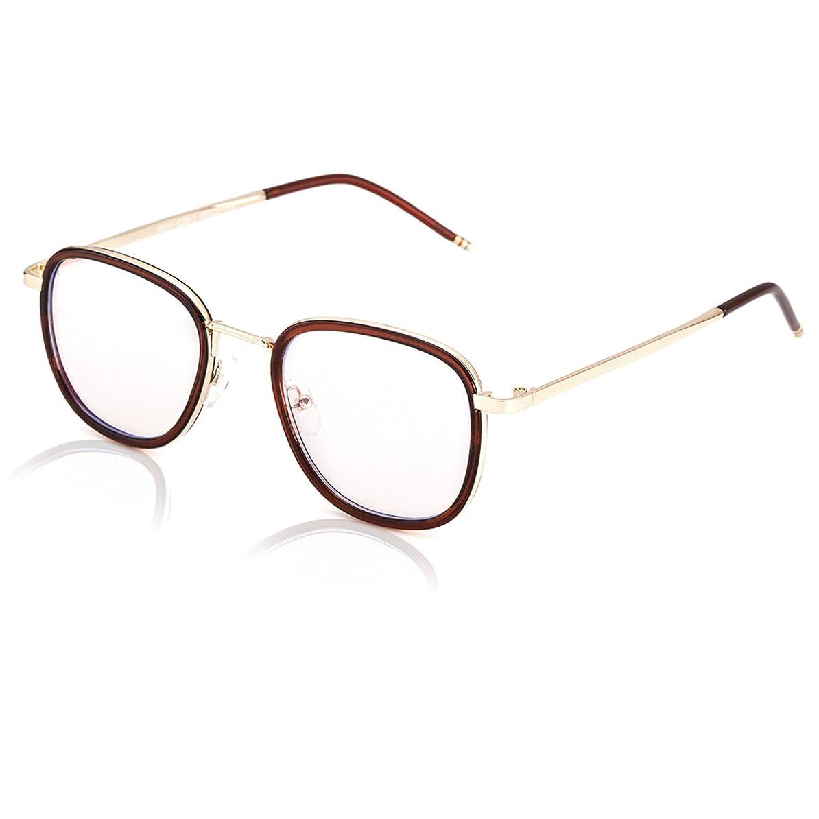 浮く卑しい虎SIPHEW 軽量 pcメガネ ブルーライトカットメガネ 度なし uv400 ファッション ボストン眼鏡 伊達眼鏡 仕事用 ゲーム用 目の疲れが全然違う