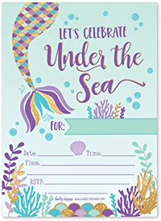 25 Mermaid Under The Sea, Girls Magical Pool Themed Kids Birthday Party Invitation Supplies, Faux Glitter Aqua Beach Ocean Invite Idea, Baby Shower or Bday Decoration Cards, First Printable Template