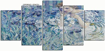 PENGTU Paintings Modern Canvas Painting Wall Art Pictures 5 Pieces Fleur de lis by Robert Reid Wall Decor HD Printed Posters Frame