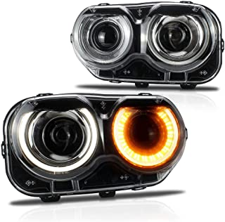 MICROPOWER Dual Beam LED Headlights for Dodge Challenger SRT Hellcat 2015 2016 2017 2018, Head Lamps Projectors Assembly with Daytime Running Light and Turn Signal Lights,Driver and Passenger Side