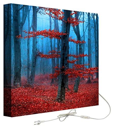 Decoralive Bosque Rojo Azul Cuadro retroiluminado, Tela, Multicolor, 75.00x75.00x5.00 cm