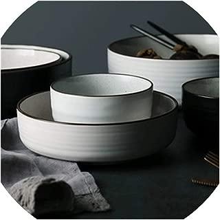 Moment Ceramic Household Rice Soup Bowls Porcelain Tableware Dinnerware White And Black Color Round Dinner Plate Tableware,White Mug