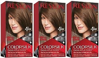 Revlon Colorsilk Beautiful Color, Permanent Hair Dye with Keratin, 100% Gray Coverage, Ammonia Free, 41 Medium Brown (Pack of 3)