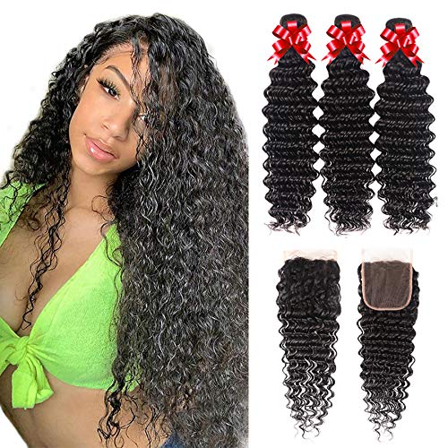 Brazilian Virgin Human Hair Deep Wave Bundles with Closure Curly Weave Bundles with 4x4 Lace Closure 100% Unprocessed Deep Curly Hair and Lace Closure Human Hair Extensions(20 22 24+18)