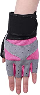 LIUFULING Women's Gloves Riding Half Fnger Fitness Gloves for Outdoor Sport Activities (Color : Pink, Size : M)