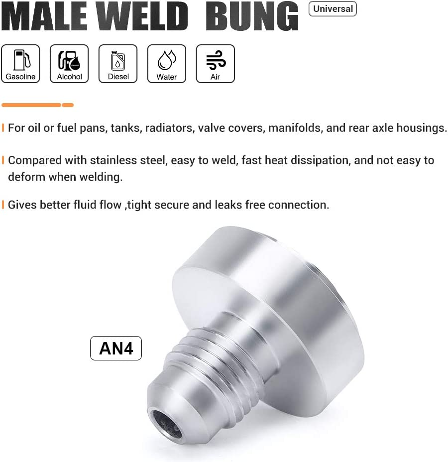 PQY Male Weld On Fitting Bung Hose Adapter Fuel Oil Aluminum Pack of 4 an4