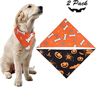 PUPTECK 2 Pack Dog Halloween Bandana - Pumpkin Black Scarf and Bone Orange Triangle Scarf, Cute Festival Dressup