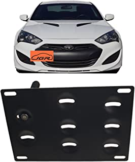 JGR Racing Car No Drill Tow Eye Front Bumper Tow Hole Hook License Plate Mount Bracket Holder Adapter Relocation Kit for Hyundai Genesis Coupe 10-16 2010 2011 2012 2013 2014 2015 2016