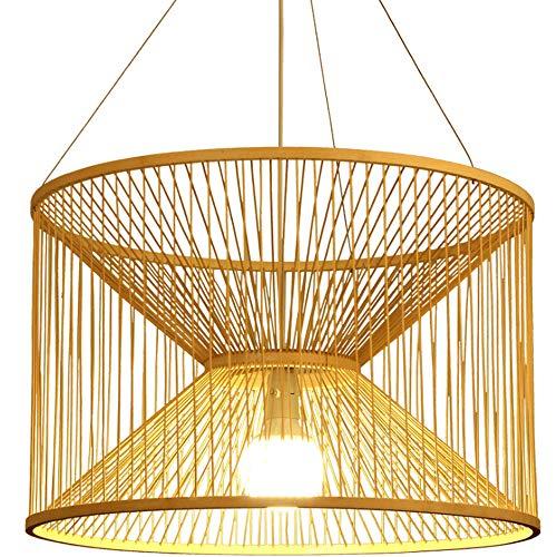 MHCZBGY Lámpara de araña de bambú Moderna y Simple Hotel Café Hogar Cocina Arte Lámpara Colgante Tiempo Creativo Reloj de Arena Lámpara Colgante E27 Tornillo Lámpara Colgante de una Sola Cabeza