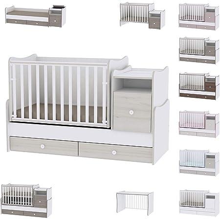 Lit bébé évolutif/combiné Trend Plus Chêne Clair Lorelli (Le lit se transforme en : lit d'adolescent, bureau, armoire multi-fonction)
