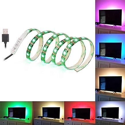 SOLLED Bias Lighting for HDTV 60 LEDs TV Backlight, 3.28Ft Ambient TV Lighting Multi-Colour Flexible 5050 RGB USB LED Strip, Best for Flat Screen/HDTV/LED Desktop/PC Monitor Background Lighting
